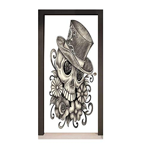 Day of The Dead 3D Murals Wall Stickers Sketch of Mexican Spanish Festive Celebration Skull Head Flowers for Home Decoration Dimgrey and White,W23xH70 -