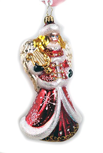 (Christopher Radko Angel with Lyre Harp Jeweled Glass Ornament made in Poland)