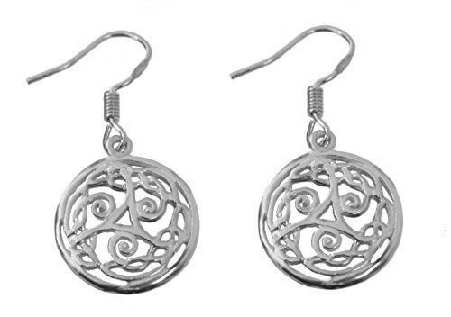(CELTIC triskelion triskele triple spiral Knot Sterling Silver 925 Earrings Wicca)