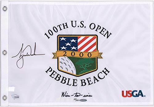 Tiger Woods Autographed 2000 U.S. Open Pebble Beach Pin Flag with Wire To Wire Inscription - Limited Edition of 500- Upper Deck - Fanatics Authentic Certified