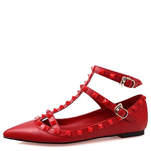 Arc-en-ciel zapatos de las mujeres del dedo del pie en punta hebilla tachonada pisos Rojo
