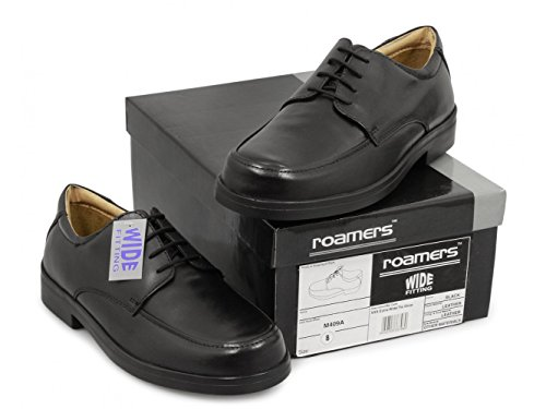 Leather Scarpe uomo pianta pelle da in extralarga Roamer stringate colore Black Softie a nero 1UqOfH