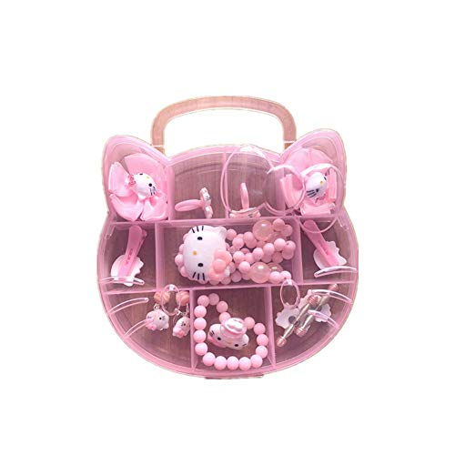 Yefashion Jewelry Set for Kid Hello Kitty Minnie Mouse Girl Ear Clip Hair Clip Necklace Dress-up Costume (K1)