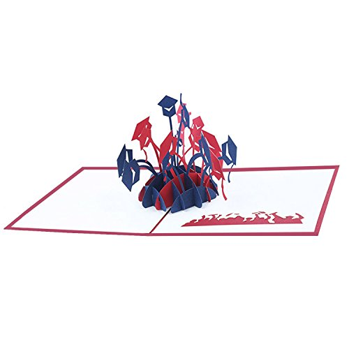 (Mosoan 3D Pop Up Graduation Greeting Cards 2018 | Novelty Graduation Cap Cards | Graduate Gift for Her and Him, Red and)