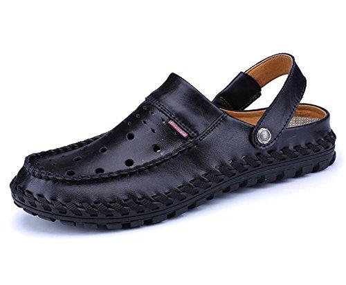 Las sandalias de los nuevos hombres de la personalidad de la manera del verano calzan las sandalias de cuero respirable de los hombres inferiores suaves de la playa de Baotou de los zapatos de la play Black