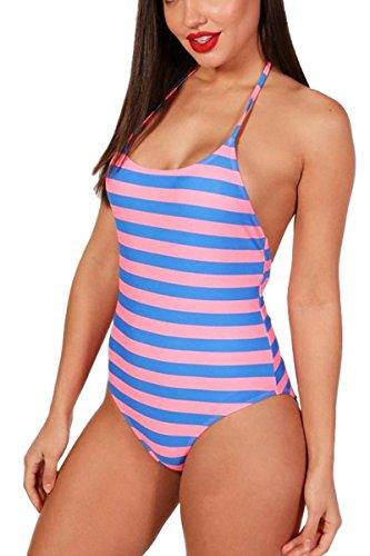 Figure Swimwear Flattering (AdoreShe Women's Sexy One Piece Swimsuit, Girls Cute Pink Blue Striped Lace Back Swimwear Bathing Suit (Pink,A18047,XL))