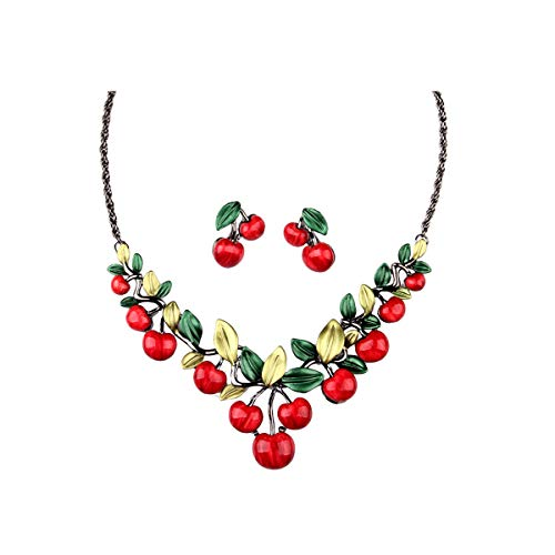 - Hamer Women's Red Cherry Party Jewelry Set Statement Necklace and Earrings