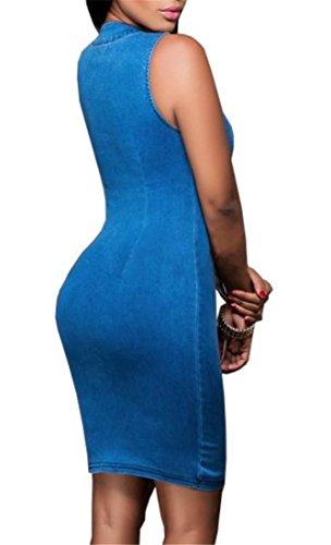 Extensible À Glissière Sans Manches Solide Femmes Cromoncent Robe Crayon Denim Bleu Moulante