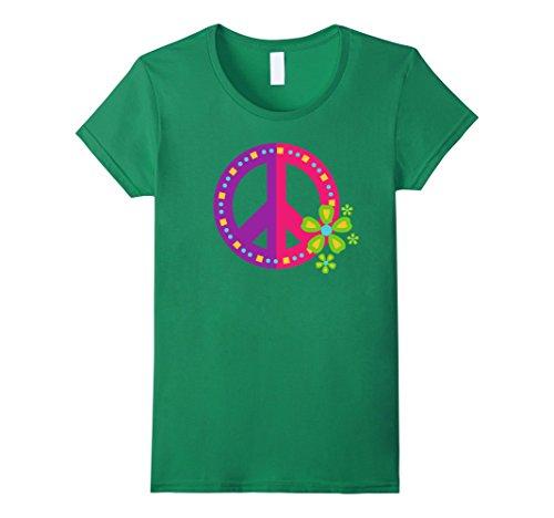 Womens PEACE SIGN LOVE T Shirt 60s 70s Tie Die Hippie Costume Shirt Medium Kelly (60s 70s Green)