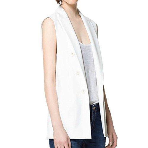 LINGMIN Women's Sleeveless Button Deco Vest Open Front Solid Waistcoats Jacket Blazer
