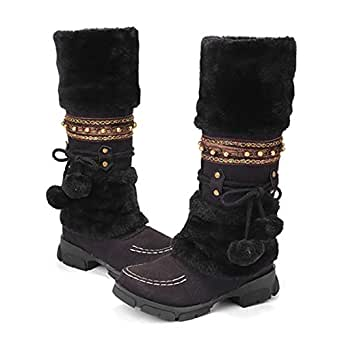 Amazon.com: Camfosy Winter Boots Warm Fur Lined Mid Calf