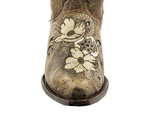 ... Cowboy Profesjonelle Kvinners Noruega Brune Floral Skinn Cowboy Boots  Klipp Tå Brun ...