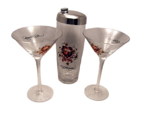 Hardy Glass (Ed Hardy Love Kills Slowly Martini Shaker Glasses -Set of 3)