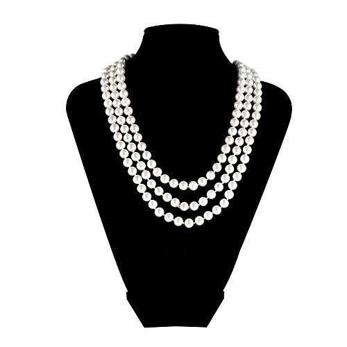 LEILE Hand Knotted Glass Imitation Pearls Necklace Bead diameter 8mm (White (Pearl String 18 Inch Necklace)