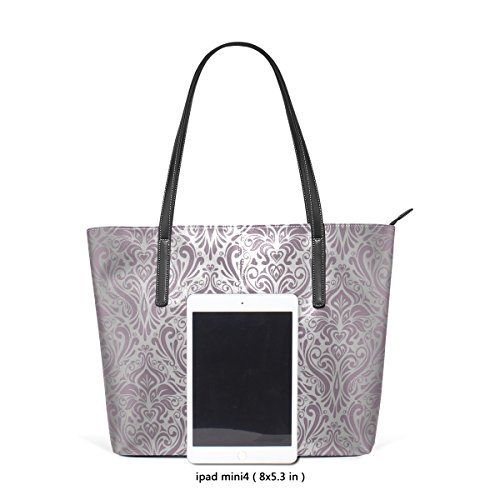 Top Women's TIZORAX Handle Pink Handbag Silver PU Fashion Bags Totes Leather Vintage Purses Shoulder qr8twr