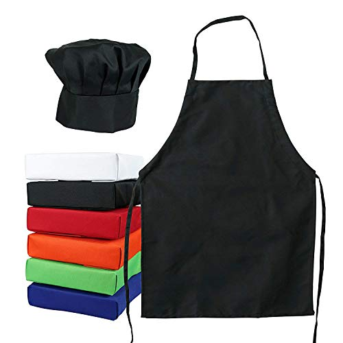 Kids Chef Hat Apron - Kitchen Cooking Baking Wear (M 6-12 Year, Black)