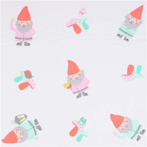 (designer fabric with gnomes, from the USA, Collection: Hank & Clementine, Design: Susan Emory of Swirly Girls Design (per 0.5 yard)