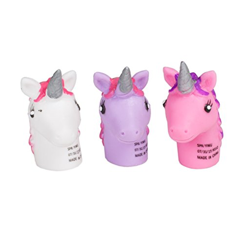 - Set of 3 Unicorn Finger Puppets, 2.25 Inches - Assorted Colors