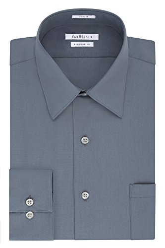 Van Heusen Men's Dress Shirt Regular Fit Poplin Solid, Grey, 16.5