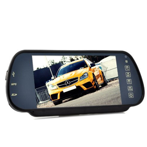 7 Inch Handsfree Bluetooth Rear View Mirror Monitor With Multimedia MP4 Player   B07BL2DDX9