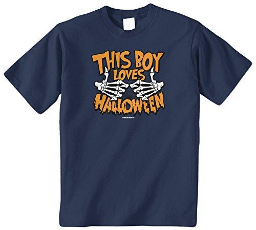 Halloween Phrases For Kids (Threadrock Big Boys' This Boy Loves Halloween Youth T-Shirt XS)