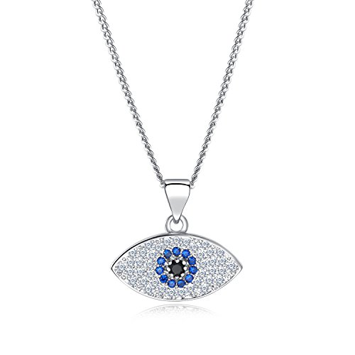 vil Eye Pendent Necklace with Mini Cubic Zirconia Cobalt Blue Glass Center Stone for Women Teen Girls(Gold & Silver Colours Available) (Platinum) ()
