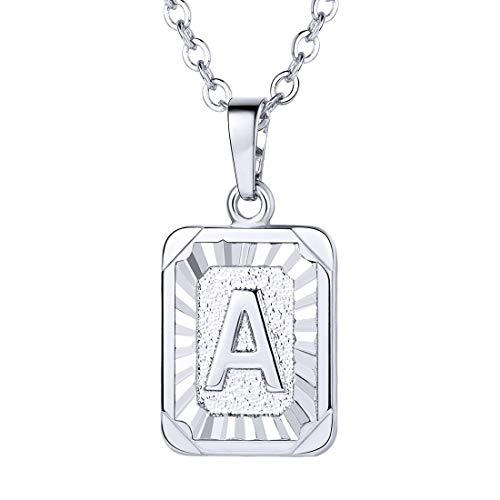 (U7 Monogram Necklace A-Z 26 Letters Pendants Platinum Plated Initial Necklaces for Women (Letter A))