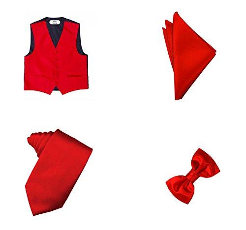 Oliver George 4pc Solid Vest Set-Red-XL