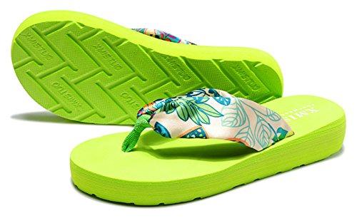 Sfnld Womens Fashion Boho Flip Flop Plattform Strand Tofflor Thong Wegde Klack Sandaler Grönt