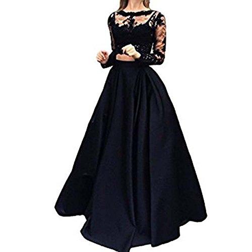 Vickyben Damen langes Zwei-Stueck Langaermeliges Spitzen Satin Abendkleid Ballkleid Brautjungfer kleid Party kleid Black vDVgyui8