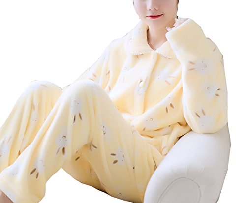 Respeedime Flannel Pajamas Women's Autumn Winter Long Sleeve Cardigan Set Home Service Nightgown L - Flannel Crazy Pajamas