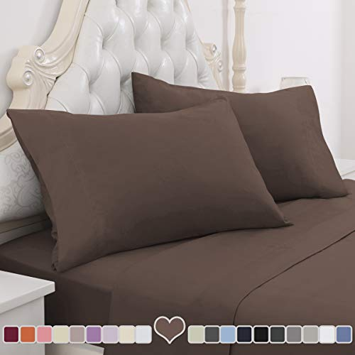 HOMEIDEAS 4 Piece Bed Sheet Set (Full, Chocolate) 100% Brushed Microfiber 1800 Bedding Sheets – Deep Pockets, Hypoallergenic, Wrinkle & Fade Resistant