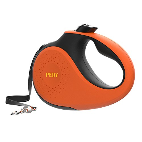 Pedy Dog Leash Retractable Cord, Patended 360° Tangle-Free Heavy Duty Retractable Leash with Anti-Slip Handle for Large Dogs from 55 to 110 BLS, One Button Brake/Pause/Lock, 16ft Strong Nylon Leash