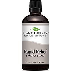 Plant Therapy Rapid Relief Synergy (Formerly known as Pain-Aid) Essential Oil Blend. 100% Pure, Undiluted, Therapeutic Grade. 100 mL (3.3 Ounce).