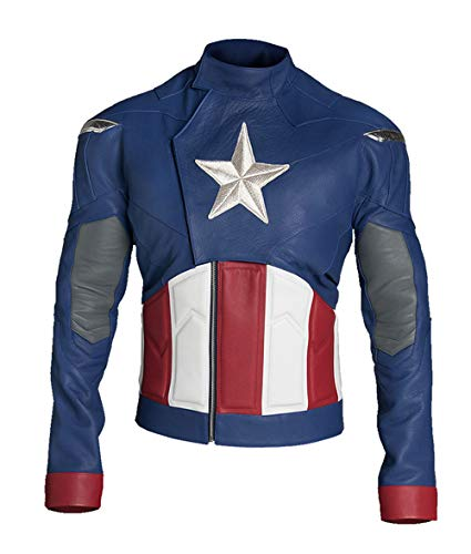 Mens Captain Steve Endgames Superhero Chris Evans Blue America Costume Leather Jacket