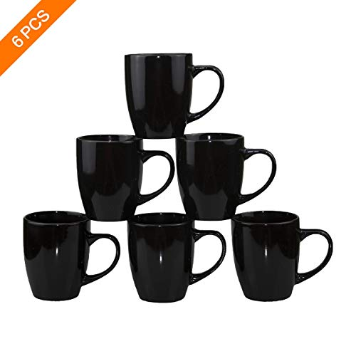 Black Ceramic Cup,Coffee Mugs,Porcelain Mug Set of 6-12oz Large Handle Tea Cup for Office and Home, Funny - Mug Ceramic Ounce 12