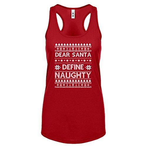 Indica Plateau Racerback Dear Santa Define Naughty X-Large Red Womens Tank Top