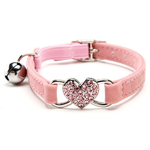 KOOLTAIL Pink Heart Bling Cat Collar with Safety Belt and Bell 8-11 Inches