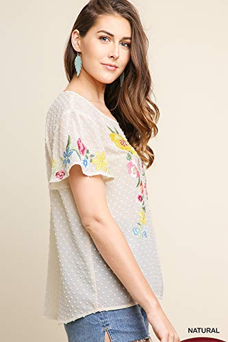 Umgee Womens Floral Embroidered Sheer Polka Dot Top
