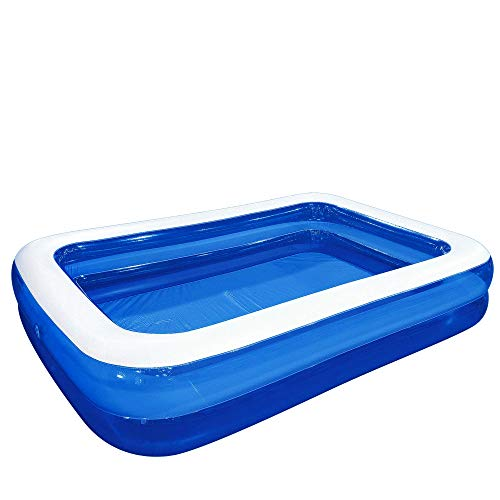 10' Blue and White Inflatable Rectangular Swimming Pool
