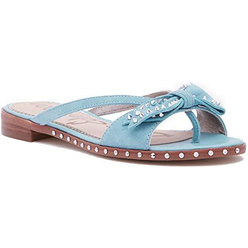 Sam Edelman Women's Dariel Sandal, Blue Porcelain Suede, 8 Medium US