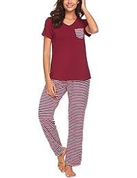 Womens Pajama Set Striped Short Sleeve Top & Pants Sleepwear Pjs Sets