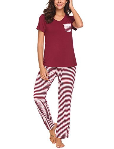 Hotouch Women 2 Pieces Short Sleeve T-Shirt & Pants Pajama Pj Set Dark Red XL (Women Pajamas Sets)