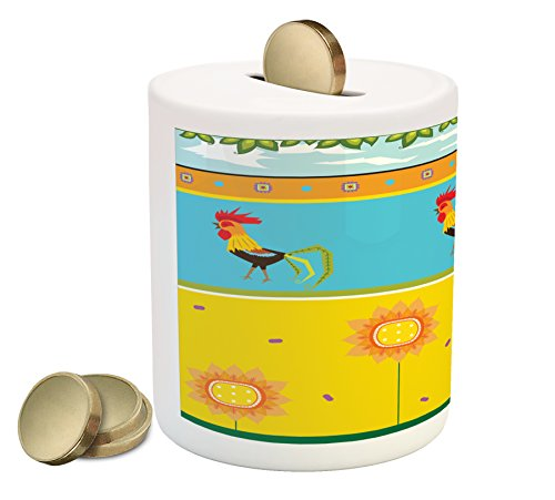 Rooster Clipart - Lunarable Gallus Piggy Bank, Rooster Pattern with Sunflowers Summer Greenery Sky Floating Clouds Clipart, Printed Ceramic Coin Bank Money Box for Cash Saving, Earth Yellow Blue