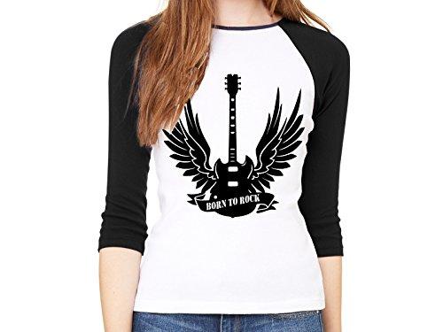 Damen Baseball Shirt 3/4-Arm Shirt Born to rock Gitarre