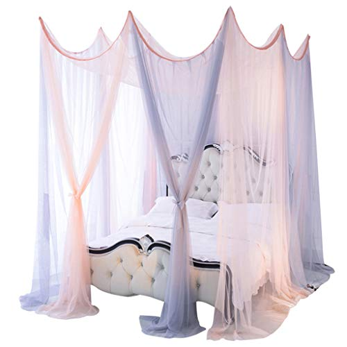 Junphsion Bed Canopy Home Bedding Dome Bed Canopy Princess Queen Mosquito Net Floor-Length Curtain Gauze Sheer Dome Hanging Bed Valance,A