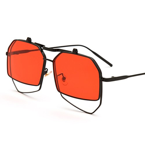 Red Flip Color Hop Doble Gafas Rojo De Femeninas Anteojos Sol Personalidad De Sol De LIUXUEPING La Amarillo De Marco Coreanos Nuevos Gafas Hip Grandes 1awqxxZ8