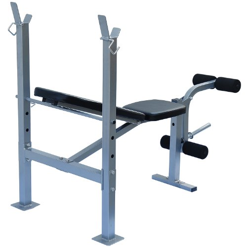 Soozier Incline Flat Exercise Free Weight Bench W Leg Extension