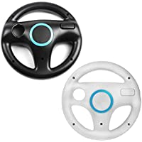 2 x Wii Steering wheels - 1x Black & 1x White
