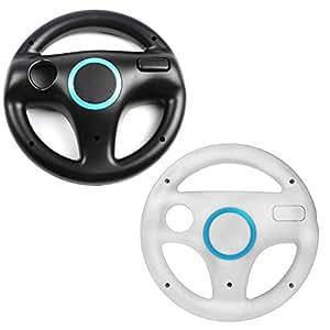2 x Wii Steering wheels - 1x Black & 1x White